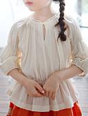 preiswerte Kleidersets für Mädchen-Mädchen Hemd Solide Baumwolle Leinen Bambusfaser Acryl Frühling Kurzarm Retro Beige