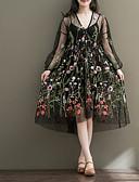 זול שמלות נשים-שחור צווארון V עד הברך פרחוני - שמלה ישרה רזה משי בגדי ריקוד נשים