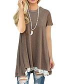 olcso Női ruhák-Alap Női Pamut Póló - Egyszínű, Csipke Denevérujj / Tavasz / Nyár