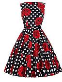 ieftine Regina Vintage-Pentru femei Concediu Bumbac Linie A Rochie Floral / Bloc Culoare În U Talie Înaltă Sub Genunchi / Vară