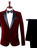 cheap Men's Blazers & Suits-Men's Party Business Formal Slim Suits-Color Block Notch Lapel / Long Sleeve / Work