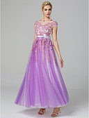 cheap Evening Dresses-A-Line Illusion Neck Floor Length Lace Over Tulle Prom Dress with Beading / Ruffles by TS Couture®