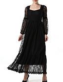 abordables Ropa de Cama de Mujer-Mujer Básico Corte Swing Vestido - Encaje, Un Color Maxi