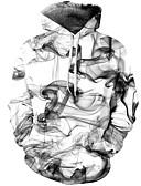 olcso Férfi pólók és pulóverek-Férfi Utcai sikk / Kínai Nadrág - Mértani / 3D Fehér / Kapucni / Hosszú ujj / Ősz