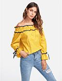 זול חולצה-אחיד סירה מתחת לכתפיים ליציאה Polo - בגדי ריקוד נשים / קיץ