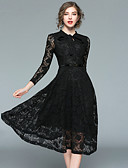 cheap Women's Dresses-Women's Going out Vintage / Street chic A Line / Little Black Dress - Solid Colored Lace High Waist V Neck