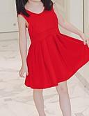 tanie Sukienki dla dziewczynek-Brzdąc Dla dziewczynek Boho Codzienny / Plaża Solidne kolory Łuk Bez rękawów Poliester Sukienka Czerwony 120