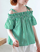 cheap Girls' Tops-Kids Girls' Houndstooth Short Sleeve Nylon Tee Green / Cute