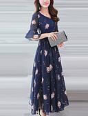 baratos Vestidos de Mulher-Mulheres Tamanhos Grandes Manga Alargamento Delgado Chifon / balanço Vestido - Estampado, Floral Médio / Primavera / Verão