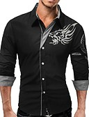 cheap Men's Tees & Tank Tops-Men's Work Basic Plus Size Slim Shirt - Animal Dragon, Print Button Down Collar / Long Sleeve