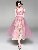baratos Vestidos Femininos-Mulheres Sofisticado Boho Evasê balanço Vestido - Renda Com Transparência, Floral Longo