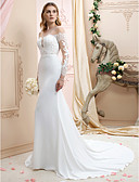 cheap Wedding Dresses-Mermaid / Trumpet Plunging Neck Chapel Train Chiffon / Corded Lace Made-To-Measure Wedding Dresses with Appliques / Buttons by LAN TING BRIDE® / Illusion Sleeve / Open Back / See-Through
