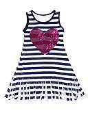 Χαμηλού Κόστους Φορέματα για κορίτσια-Νήπιο Κοριτσίστικα Ενεργό / Μπόχο Σχολείο / Εξόδου Ριγέ Πούλιες / Φούντα Αμάνικο Βαμβάκι Φόρεμα Μαύρο