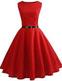 baratos Vestidos de Mulher-Mulheres Vintage Algodão Delgado Calças - Poá Vermelho / Para Noite