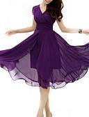 baratos Vestidos de Mulher-Mulheres Tamanhos Grandes Chifon balanço Vestido - Frufru, Sólido Decote V Cintura Alta Médio