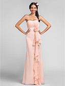 cheap Bridesmaid Dresses-Sheath / Column Sweetheart Neckline Floor Length Chiffon Bridesmaid Dress with Draping / Cascading Ruffles / Flower by LAN TING BRIDE®