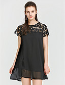 cheap Women's Dresses-Women's Beach Club Going out Holiday Street chic Sheath Dress - Solid Colored Lace Black High Rise