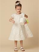 hesapli Çiçekçi Kız Elbiseleri-A-Şekilli Taşlı Yaka Diz Boyu Dantelalar Dantel ile Çiçekçi Kız Elbisesi tarafından LAN TING BRIDE®