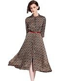 hesapli Kadın Elbiseleri-Kadın's Dışarı Çıkma Temel Kılıf / Çan Elbise - Geometrik Dik Yaka Midi