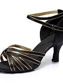 cheap Women's Tanks-Women's Latin Shoes Satin Sandal / Heel Splicing Customized Heel Customizable Dance Shoes Black / Gold / Indoor