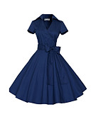 cheap Women's Dresses-Women's Vintage / Street chic Loose A Line Dress - Solid Colored Blue High Waist V Neck / Spring / Summer / Bow