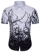 cheap Men's Shirts-Men's Basic Plus Size Shirt - Geometric White XL / Short Sleeve / Summer
