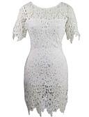 זול שמלות נשים-מותניים גבוהים מעל הברך אחיד - שמלה צינור סקיני בגדי ריקוד נשים