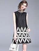 baratos Vestidos Femininos-Mulheres Vintage Moda de Rua Reto Vestido - Bordado, Geométrica Mini