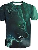 abordables Camisetas y Tops de Hombre-Hombre Básico Estampado - Algodón Camiseta, Escote Redondo Animal / Manga Corta