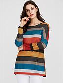 זול שמלות נשים-פסים סגנון רחוב / פאנק & גותיות ליציאה כותנה, טישרט - בגדי ריקוד נשים / Stripe פיין