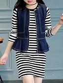 tanie Męskie koszulki polo-Komplet odzieży Rayon Dla dziewczynek Prążki Wiosna Jesień Długi rękaw Moda miejska Black