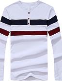 お買い得  メンズTシャツ&タンクトップ-男性用 Tシャツ ベーシック ラウンドネック ストライプ コットン / 長袖 / ロング