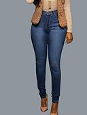 tanie Damskie spodnie-Damskie Podstawowy Szczupła Jeansy Spodnie - Solidne kolory Otwór Niebieski