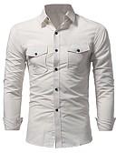 baratos Camisas Masculinas-Homens Camisa Social Básico Sólido / Manga Longa