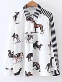 baratos Camisas Femininas-Mulheres Camisa Social - Feriado Básico Patchwork, Listrado / Animal Algodão Colarinho de Camisa / Primavera / Verão / Belas Stripe