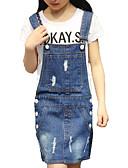 お買い得  女児 ドレス-女の子の 日常 祝日 ソリッド コットン ポリエステル ドレス 夏 半袖 キュート 活発的 ブルー