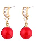 cheap Mother of the Bride Dresses-Women's Cubic Zirconia Pearl Drop Earrings - Pearl, Zircon Ethnic Red For Ceremony Formal