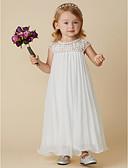 cheap Flower Girl Dresses-Sheath / Column Ankle Length Flower Girl Dress - Chiffon Short Sleeve Jewel Neck with Beading / Draping by LAN TING BRIDE®