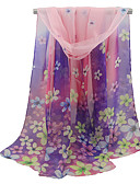 cheap Women's Scarves-Women's Basic Polyester Rectangle - Floral Mesh