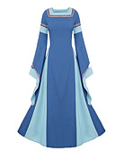 cheap Historical & Vintage Costumes-Cosplay Medieval Costume Women's Dress Party Costume Costume Purple / Blue / Red Vintage Cosplay Polyster Long Sleeve