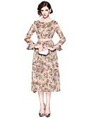 povoljno Ženske haljine-Žene Praznik Ulični šik Flare rukav Slim Korice Haljina - Print, Cvjetni print Midi