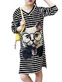 preiswerte Kleider für Mädchen-Kinder Mädchen Einfach / Aktiv Ausgehen Gestreift 3/4 Ärmel Kleid / Baumwolle / Niedlich