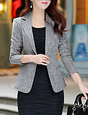 cheap Women's Blazers & Jackets-Women's Daily / Work Basic / Street chic Plus Size Blazer - Solid Colored / Spring / Fall