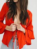 baratos Blusas Femininas-Mulheres Blusa - Para Noite Moda de Rua Frufru / Cordões, Sólido Decote em V Profundo Delgado / Primavera / Outono / Sexy