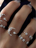 זול מכנסיים לנשים-אֶשׁכּוֹל טבעת הגדר - סגסוגת MOON, כוכב בסיסי, אופנתי 7 כסף עבור יומי / פגישה (דייט)