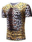 cheap Men's Shirts-Men's Basic Punk & Gothic T-shirt - Polka Dot Leopard Animal