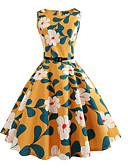 baratos Vestidos de Mulher-Mulheres Moda de Rua / Sofisticado Delgado Calças - Floral Cintura Alta Amarelo / Feriado / Para Noite / Sexy