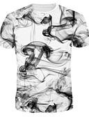 tanie Koszulki i tank topy męskie-Puszysta T-shirt Męskie Podstawowy / Przesadny, Nadruk Okrągły dekolt Geometric Shape / Kolorowy blok / Krótki rękaw