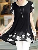 baratos Camisetas Femininas-Mulheres Tamanhos Grandes Blusa Casual / Moda de Rua Estampado Decote U Solto / Verão / Padrões florais
