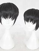 baratos Camisetas & Regatas Masculinas-Perucas sintéticas Liso Corte em Camadas Cabelo Sintético Riscas Naturais Preta Peruca Homens Curto Sem Touca